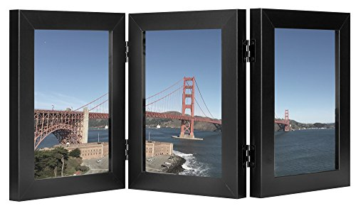 Frametory, 5x7 Inch Black Hinged Picture Frame - Made to Display Three 5x7 Inch Pictures, Stands Vertically on Desktop or Table Top, Real Glass Front (Triple Hinge Frame)
