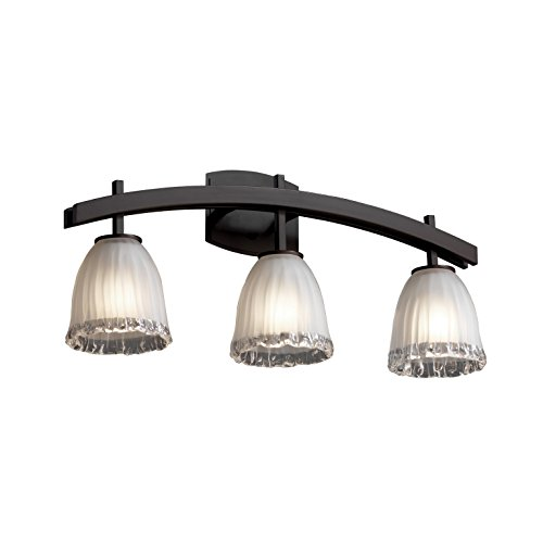 (Justice Design Group Veneto Luce 3-Light Bath Bar - Dark Bronze Finish with White Frosted Venetian Glass Shade)
