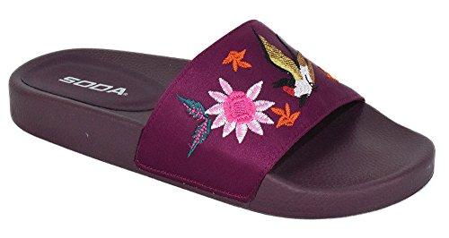 Soda Shoes Women Flip Flops Flat Sandals Slides Embroidery Print Bella Vino Burgundy Purple 9