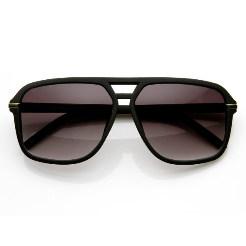 zeroUV - Square Flat Top Rubber Finish Matte Aviator Sunglasses (Matte - Black Aviators Matte