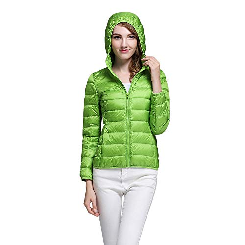 Women Packable Down Quilted Jacket Lightweight Solid Hooded Puffer Coats KIKOY -