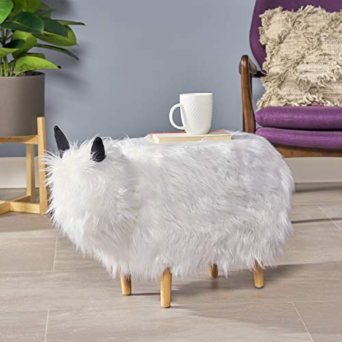 Christopher Knight Home Kamla Furry Yak Ottoman, White, Natural Finish (Furry Ottoman Storage With)