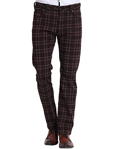 - SSLR Men's Check Thermal Straight Fit Fleece Jeans Pants (W32 x L32, Burgundy)