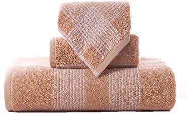 TOWEL Las Toallas Suaves Grandes absorbentes de la Toalla Rayada Jacquard Simple del algodón Tres-Pieza 34 * 36cm + 74 * 34cm + 140 * 72cm