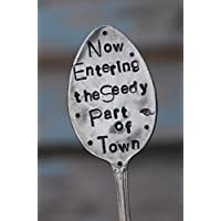 Now Entering The Seedy Part of Town - Garden Marker Stake for Flower Pots and House Plants recycled Spoon
