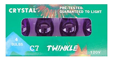 C-7 Purple transparent replacement bulbs for twinkle lights or blinking lights (C7 Twinkling Bulbs)