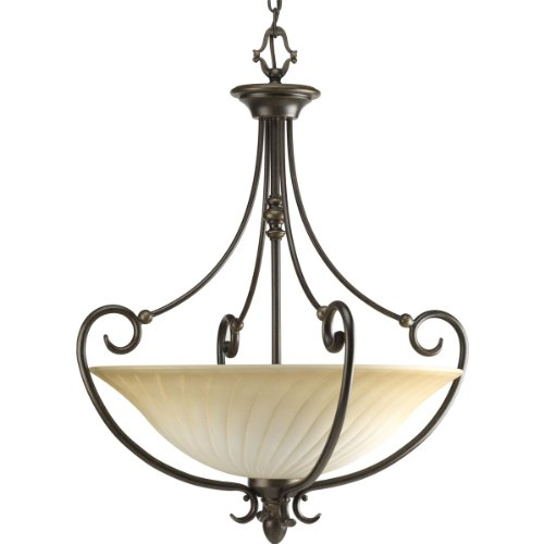 Progress Lighting P3532-77 3-Light Kensington Inverted Pendant, Forged Bronze
