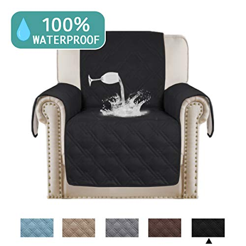 "Turquoize Sofa Slipcover Furniture Protector 100% Waterproof with Anti-Skip Little Dog Paw Print,Machine Washable,Cover Perfect for Pets and Kids Recliner Covers(Oversize Recliner,79""x68"") Black"