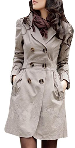 Lingswallow Women Elegant Double Breasted Belted Long Jacket Trenchcoat L Khaki (Sexy Fur Coat)