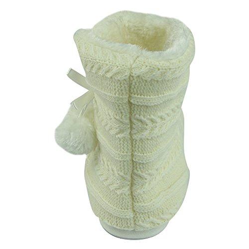 Maison Pantoufle Molleton Doux En Peluche Chaud Maison Intérieure Pantoufle Bottes Chaussures Blanc À Tricoter Avec Pom Pom