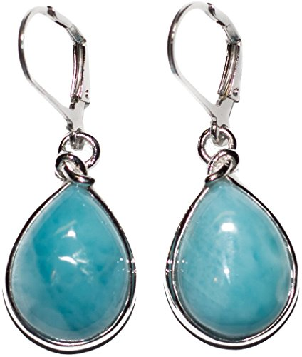 Sterling Silver Drop Earrings with Pear Shape Larimar Stones BTS-NEA3009 LR R