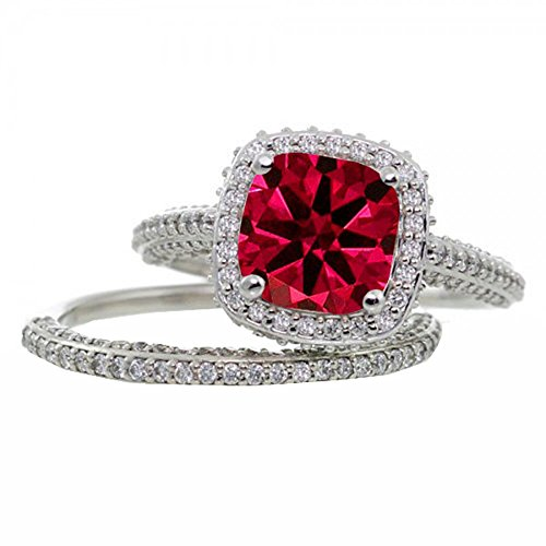 Silverstargemsjewellery 2Carat Red Ruby & D/VVS1 Diamond Women's Wedding Bridal Ring Set 14k White Gold Over 2 Ct Ruby Ring