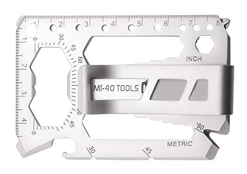 MI-40 TOOLS Ultimate Credit Card Multitool Wallet With Money Clip   40-In-1 Multipurpose, Multifunction Toolcard With Slim Minimalist Design   Includes Can  Bottle Opener, Screw Driver  Much More (Using A Money Clip Instead Of A Wallet)