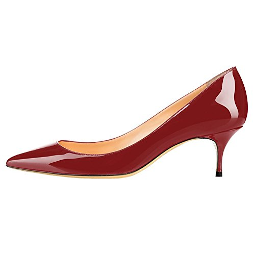 Fashion Shoes Women's Pointed Party Wedding Wine MERUMOTE Toe Heels Slip on for Middle Pumps Patent Dancing q5wd0x