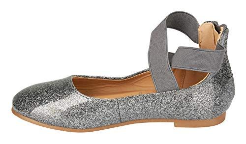 Metallic Glitter Dress Sandals - bebe Girls Flats Size 1 Glitter Vinyl Ankle Straps Mary Jane Sandals Pewter
