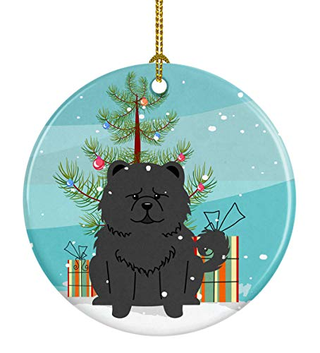 Caroline's Treasures Merry Christmas Tree Chow Black Ceramic Ornament, Multicolor