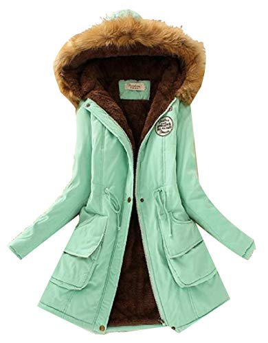 H&E Womens Winter Thicken Faux Fur Hooded Fleece Lined Outwear Parka Coat Light Green