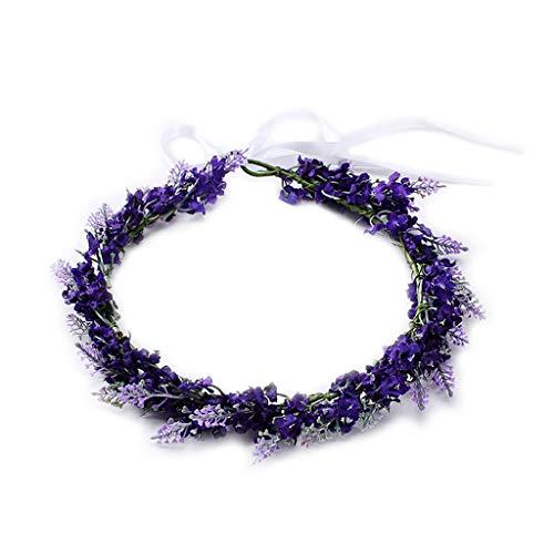 VIccoo Simulated Flower Headband Lavender Floral Hair Band Garland Tiara Crown Women Jewelry Headdress Decoration - Deep -