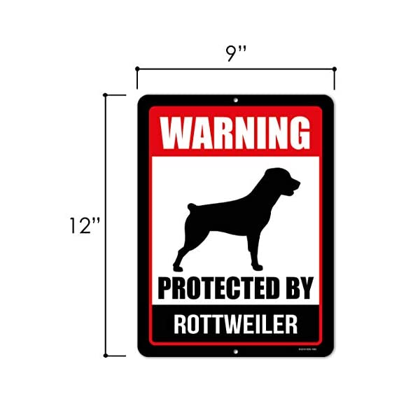 Honey Dew Gifts Rottweiler Sign Warning Protected by Rottweiler 9 x 12 Inch Beware of Dog Warning Metal Aluminum Tin Sign - Beware of Dog Signs for Fence 2