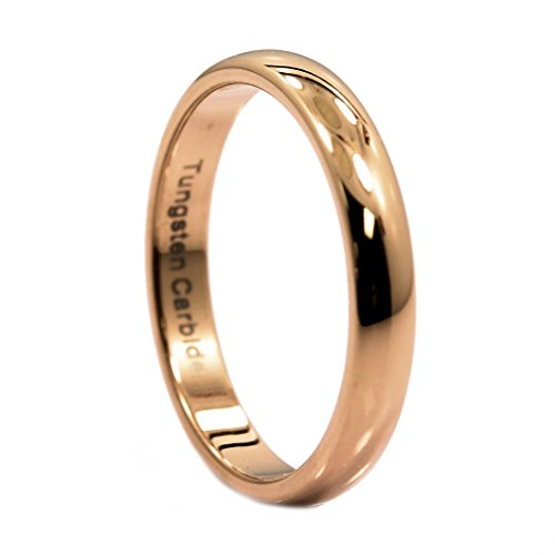 MJ Metals Jewelry 3mm Thin Rose Gold Plated Ring Tungsten Carbide Wedding Band Size 5.5