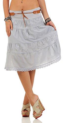 malito falda con cinturón verano tramo bordado A-línea 16169 Mujer Talla  Única gris claro 2e1dc2d346ae