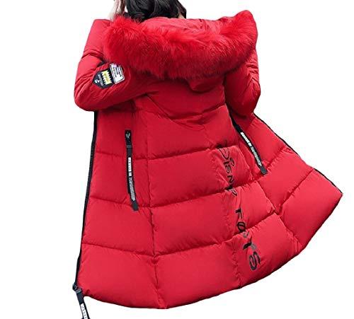 Cerniera Velluto Outwear Allentato Mogogo Medio Spessore lungo Rosso Incappucciato Di Stampato Donne Giù OwpXpq