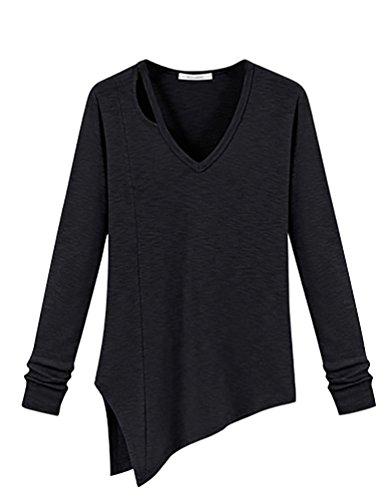 ZKOO Mujeres Talla Grande Blusas di Color Sólido Ocasionales Camisetas V Escote de Manga Larga T-Shirt Camisas Top Negro