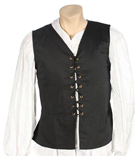 Alexanders Costumes Men's Male Renaissance Vest, Black, Small]()