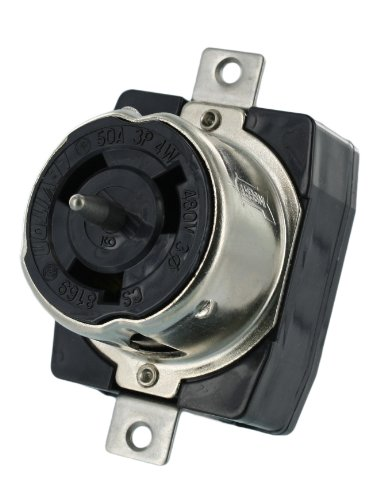 Leviton CS8169 50 Amp, 3PY, 480 Volt AC, Black and White Locking Flush Mount Receptacle, Industrial Grade, Grounding, California-Style, Black