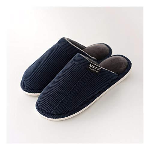 Étage Non Blue Chaussons Slippers Soft slip Confortable Omfgod Femmes Hiver Amoureux Chaud Hommes Chaussures Silencieux Deep Home Intérieur Coton xgqU7n
