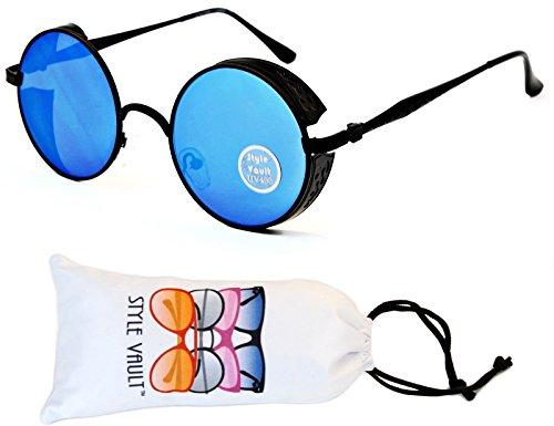 Blues Glasses Black (V168-vp Style Vault Steampunk Round Sunglasses (075 Black-Blue Mirror, uv400))