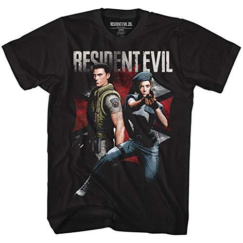 American Classics Unisex Resident Evil Chris and Jill Adult Short Sleeve T-Shirt, Black, 3XLarge