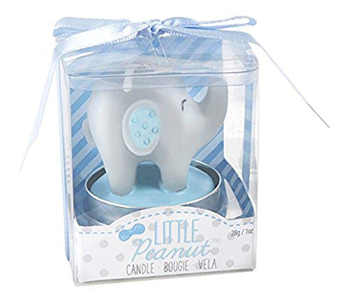 48 Kate Aspen Blue Gray Elephant Theme Baby Shower Christening Baptism Baby Boy Little Peanut Elephant Shaped Candle Favors ()