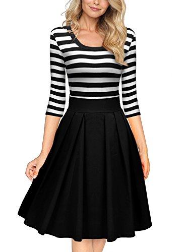 Miusol Womens Stripe Sleeve Casual