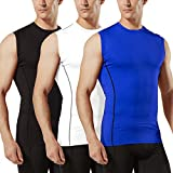 TSLA Men's (3-Pack) R Neck Sleeveless Muscle Tank Dry Compression Baselayer, 3pack(mua25) - Black/White/Blue, Small