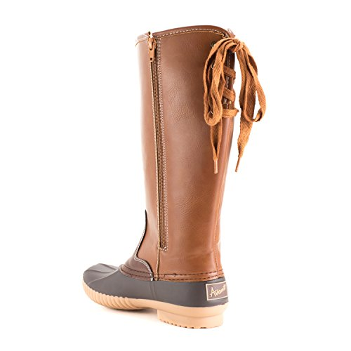 Avanti Womens Knee-High Duck Boots - Faux Leather Wide Calf Lined Rain Boots Brown 1ycoFDE