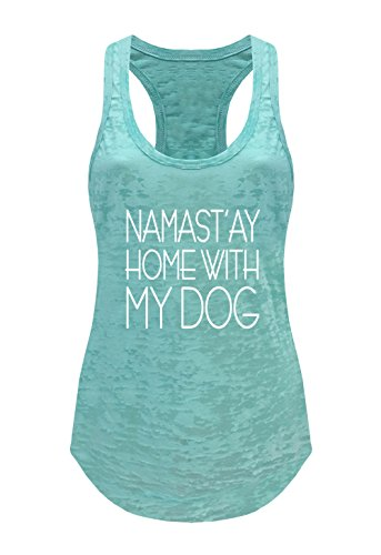 (Tough Cookie's Women's Yoga Burnout Namastay at Home with My Dog Tank Top (Large - LF, Mint))