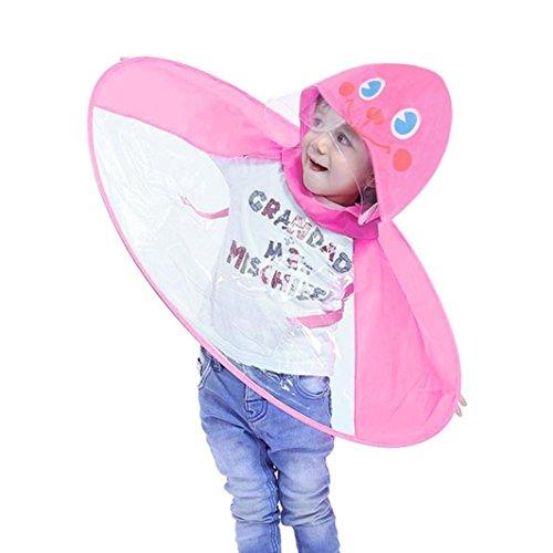 PIKAqiu33 Kids Raincoat Cartoon Raincoat Packable Children's Hooded Poncho Cloak UFO Children Umbrella Hat Magical Hands Free (Pink) (Ufo Pants Girl)