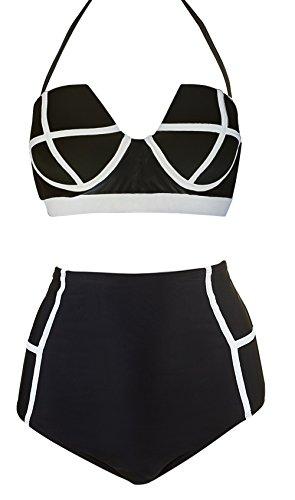 LA PLAGE Women's High Waist Vintage Push Up Padded swimsuit size XL black - Swimsuit Size Charts