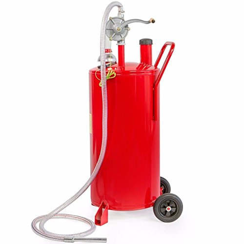 FDInspiration Red 20 Gallon Solid Steel Gas Caddy Fuel Storage Tank Transfer w/8FT Hose by FDInspiration
