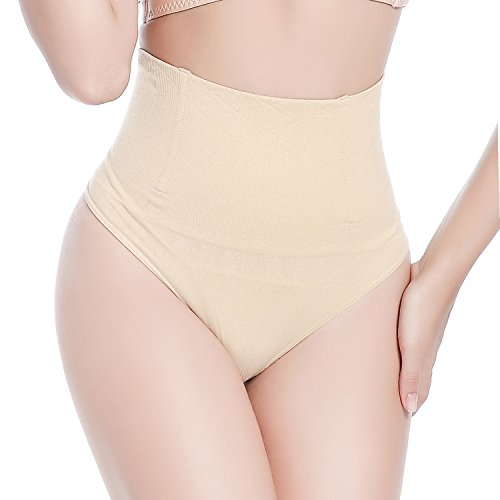 Control Boyshort - SAYFUT Women Medium-Waisted Thong Body Shaper Boyshorts Control Brief Nude US 10-12/Waist 30.5