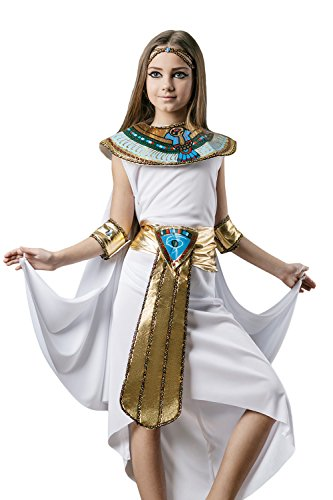 Kids Girls Cleopatra Halloween Costume Egyptian Princess Dress Up & Role Play (8-11 years) (Beauty Queen Fancy Dress)