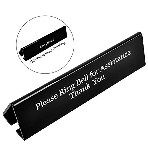 - Receptionist Sign, UCEC Please Ring Bell for Assistance Thank You Sign, Double Sides Printed Office Sign for Lobby Or Front Desk Service(7.8 Inches x 2 Inches)