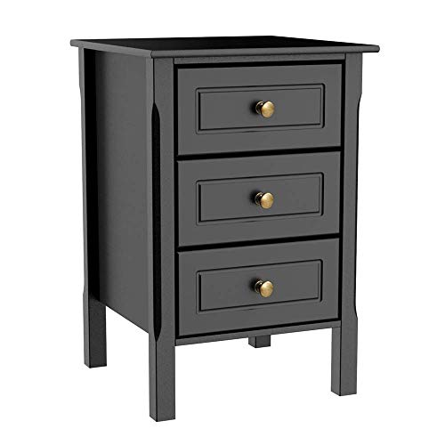 Cypress Shop Bedside Table Nightstand Accent Table End Table Organizer Storage Cabinet Water Resistant Surface with 3 Drawers Antique Round Drawer Knobs Home Office Furniture