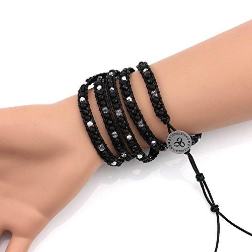 Christinelle, bracelet cuir, perles Bracelets pour femme, cinq rangées Noir mat, perles, 91,4cm