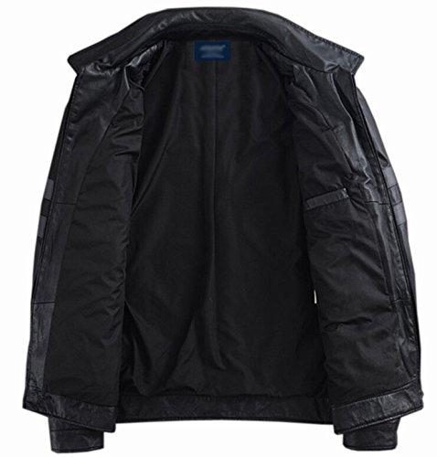 Your Gallery Men's Slim Fit Faux Leather Zipper Moto Jacket M Black