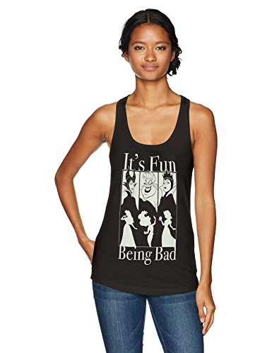 Disney Women's It's Fun Being Bad Ideal Racerback Graphic Tank Top, Black, L
