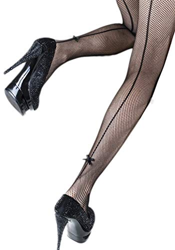 (Yelete Killer Legs Women's One/Plus Size Patterned Fishnet Tights Stocking Pantyhose (Regular, Back Seam with Bow)
