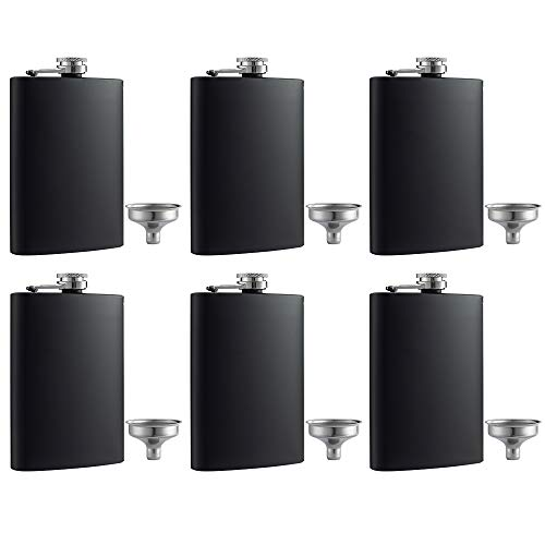 YWQ 6 Pcs 8 oz Matte Black Pocket Liquor Whiskey Hip Flask with Funnel, Stainless Steel and Leak Proof