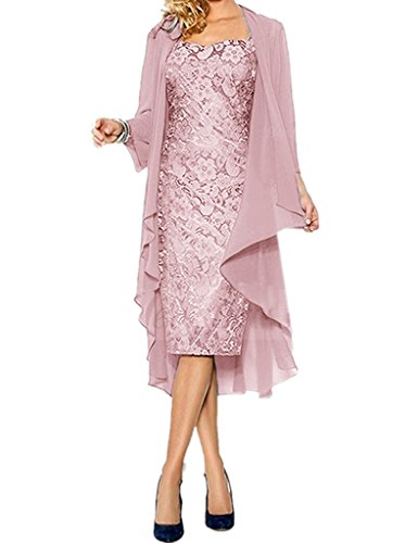 APXPF Women's Lace Mother of The Groom Dresses Tea Length with Jacket Blush US8
